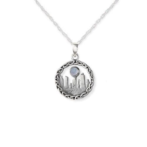 Outlander Inspired Standing Stones Silver Pendant Small With Moonstone